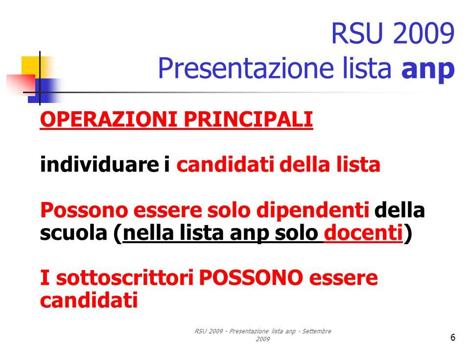 RSU 2009 - Presentazione lista anp - Settembre 2009 6 RSU 2009 Presentazione lista anp OPERAZIONI PRINCIPALI individuare i candidati della lista Posso
