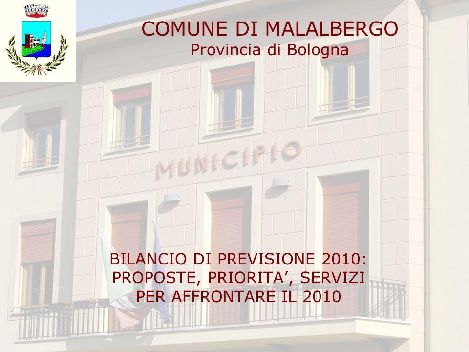 COMUNE DI MALALBERGO Provincia di Bologna BILANCIO DI PREVISIONE 2010: PROPOSTE, PRIORITA, SERVIZI PER AFFRONTARE IL 2010