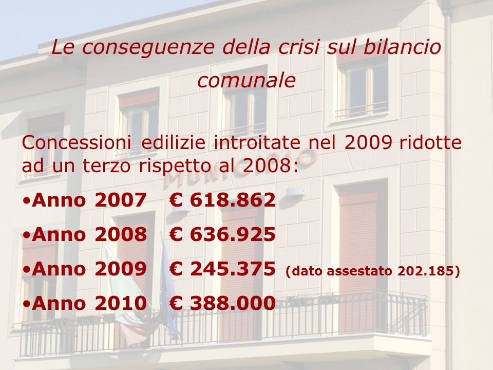 Le conseguenze della crisi sul bilancio comunale Concessioni edilizie introitate nel 2009 ridotte ad un terzo rispetto al 2008: Anno 2007 618.862 Anno 2008 636.925 Anno 2009 245.375 (dato assestato 202.185) Anno 2010 388.000
