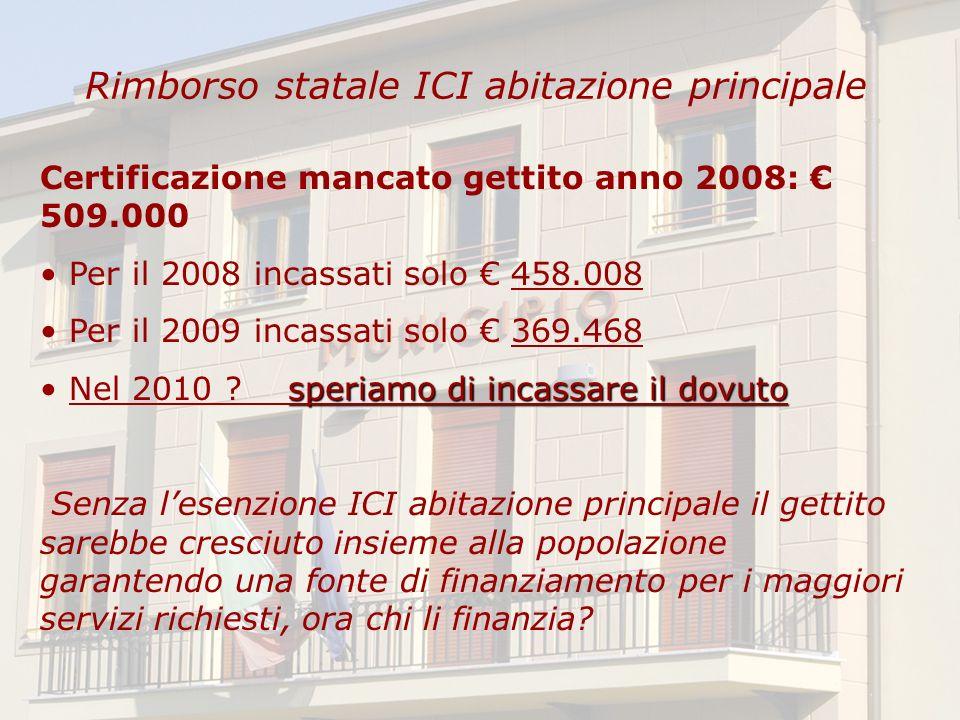Rimborso statale ICI abitazione principale Certificazione mancato gettito anno 2008: 509.000 Per il 2008 incassati solo 458.008 Per il 2009 incassati solo 369.468 speriamo di incassare il dovuto Nel 2010 .