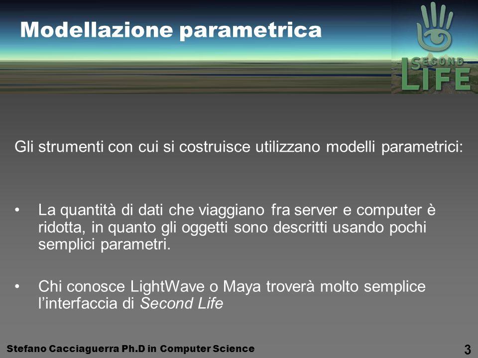 Stefano Cacciaguerra Ph.D in Computer Science 3 Modellazione parametrica Gli strumenti con cui si costruisce utilizzano modelli parametrici: La quantità di dati che viaggiano fra server e computer è ridotta, in quanto gli oggetti sono descritti usando pochi semplici parametri.