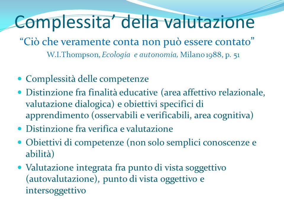 Complessita della valutazione Ciò che veramente conta non può essere contato W.I.Thompson, Ecologia e autonomia, Milano 1988, p. 51 Complessità delle