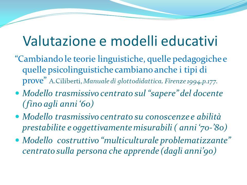 Valutazione e modelli educativi Cambiando le teorie linguistiche, quelle pedagogiche e quelle psicolinguistiche cambiano anche i tipi di prove A.Cilib