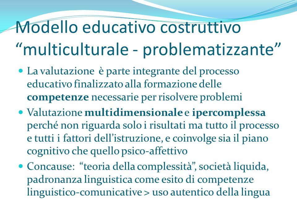 Modello educativo costruttivo multiculturale - problematizzante La valutazione è parte integrante del processo educativo finalizzato alla formazione d