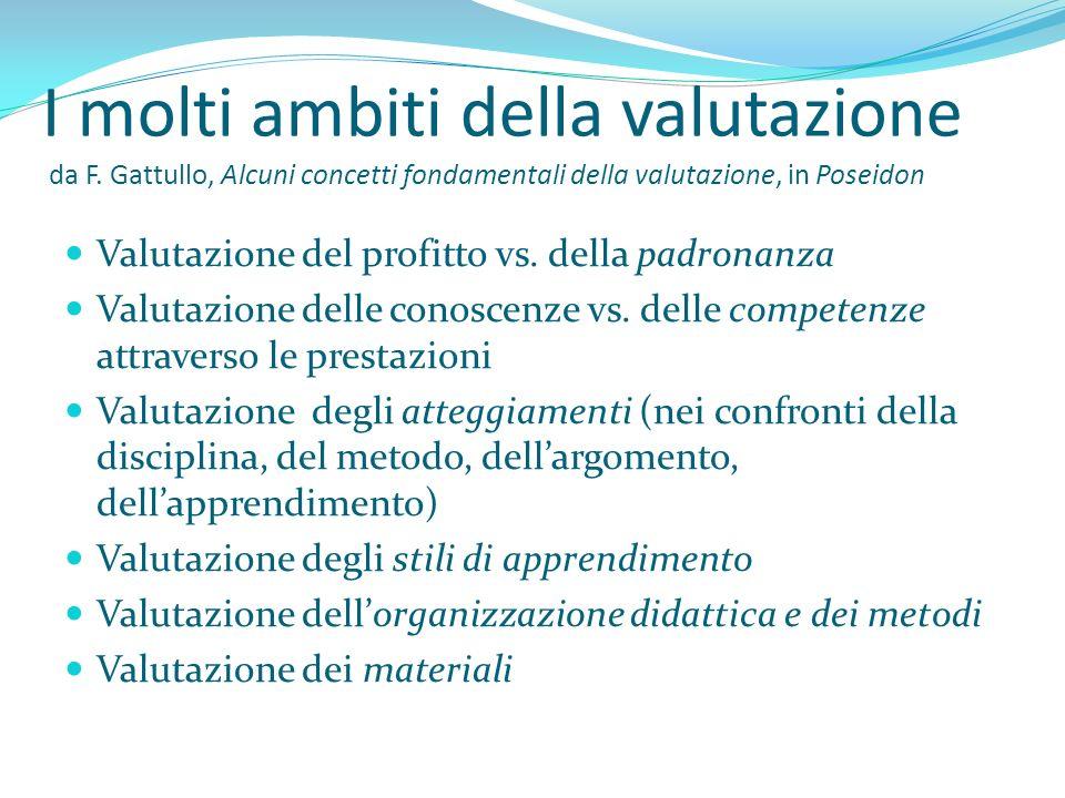 I molti ambiti della valutazione da F. Gattullo, Alcuni concetti fondamentali della valutazione, in Poseidon Valutazione del profitto vs. della padron