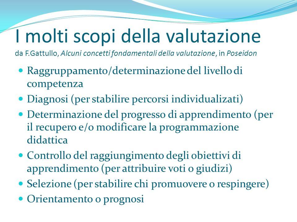 I molti scopi della valutazione da F.Gattullo, Alcuni concetti fondamentali della valutazione, in Poseidon Raggruppamento/determinazione del livello d
