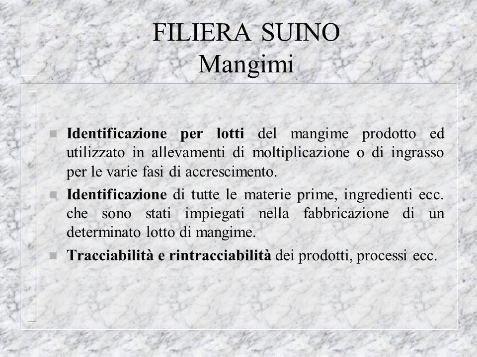 FILIERA SUINO Mangimi n Identificazione per lotti del mangime prodotto ed utilizzato in allevamenti di moltiplicazione o di ingrasso per le varie fasi