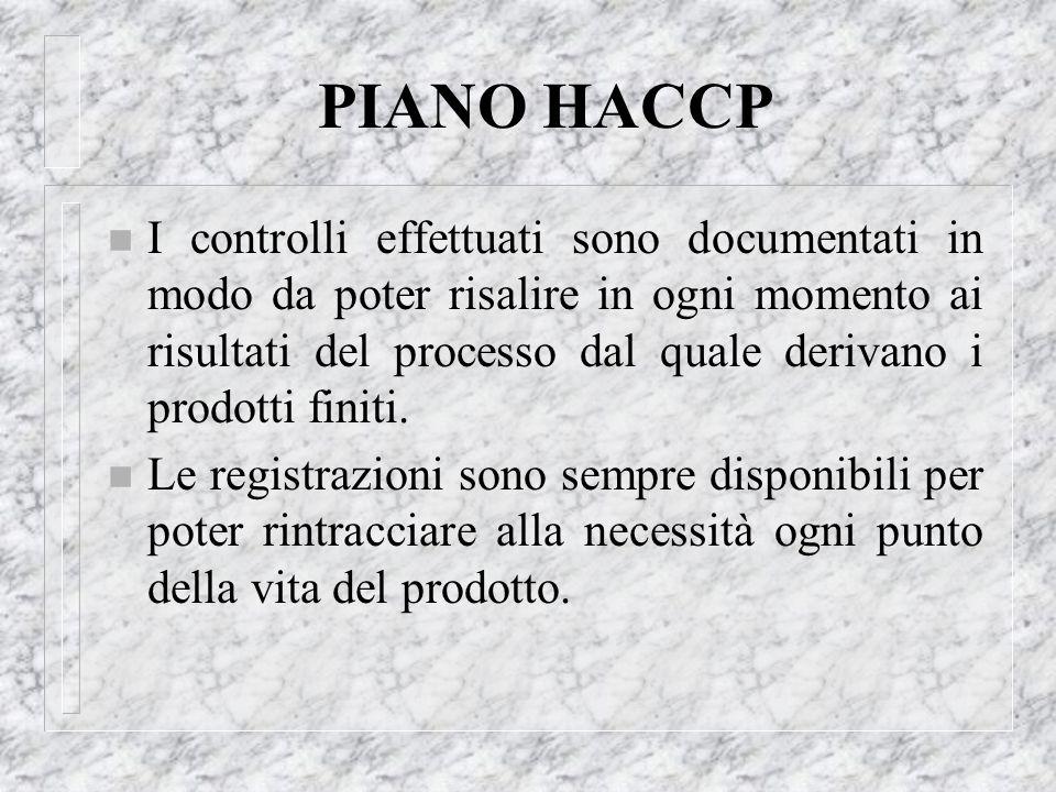PIANO HACCP n I controlli effettuati sono documentati in modo da poter risalire in ogni momento ai risultati del processo dal quale derivano i prodott