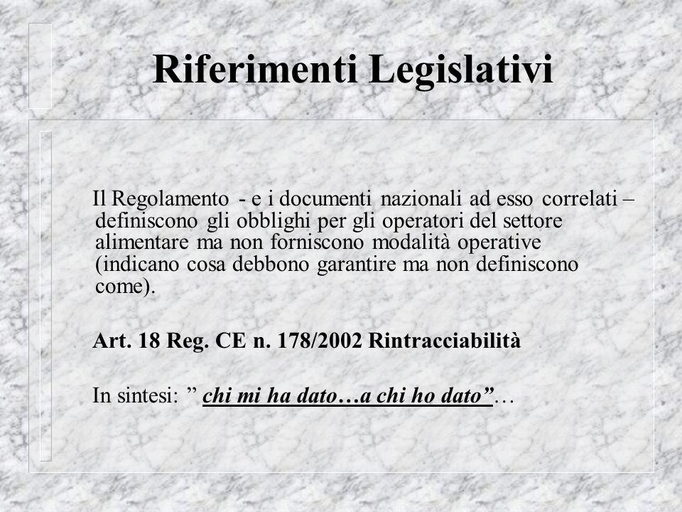 Riferimenti Legislativi Il Regolamento - e i documenti nazionali ad esso correlati – definiscono gli obblighi per gli operatori del settore alimentare