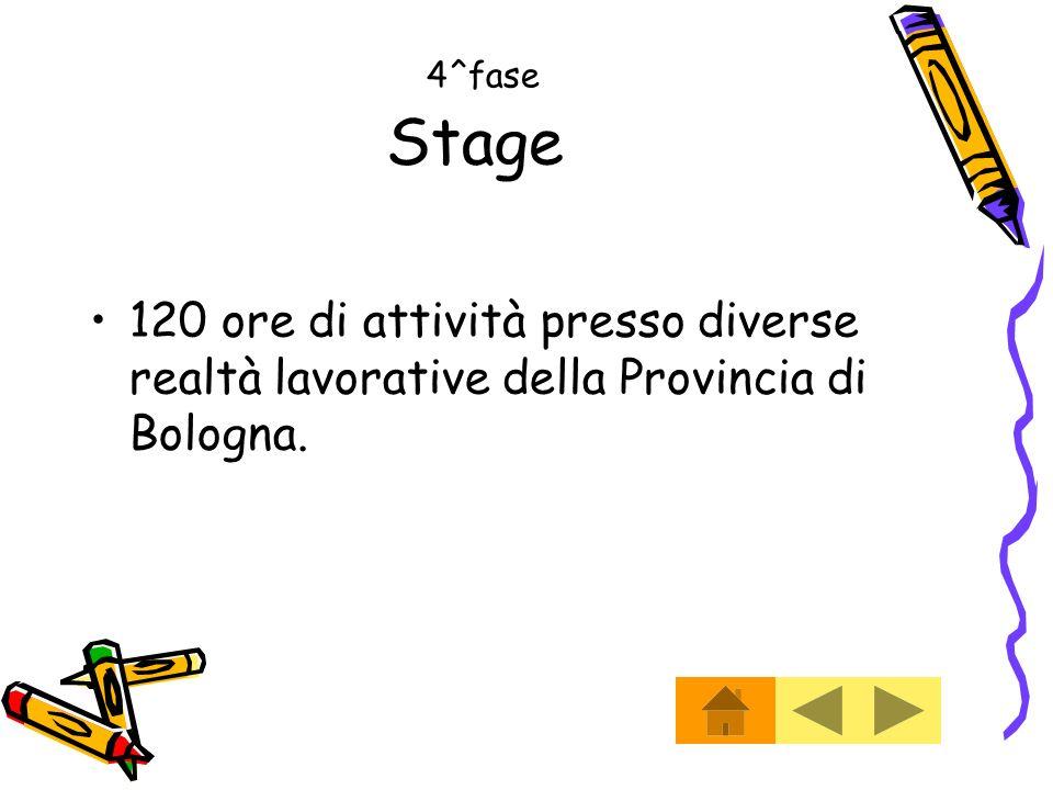 4^fase Stage 120 ore di attività presso diverse realtà lavorative della Provincia di Bologna.