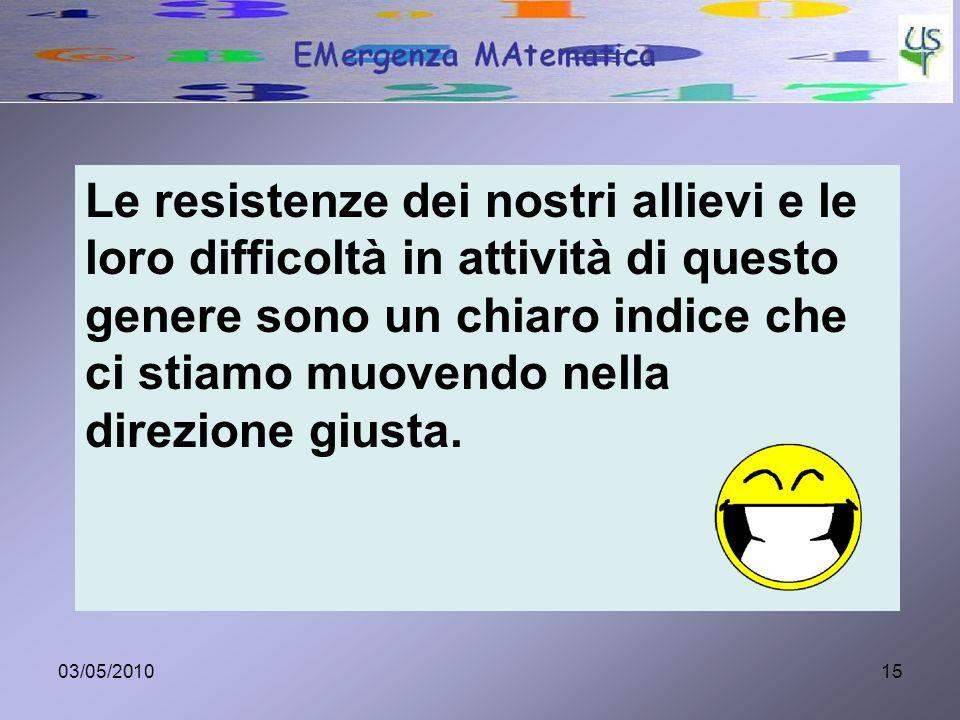 03/05/201015 Le resistenze dei nostri allievi e le loro difficoltà in attività di questo genere sono un chiaro indice che ci stiamo muovendo nella dir