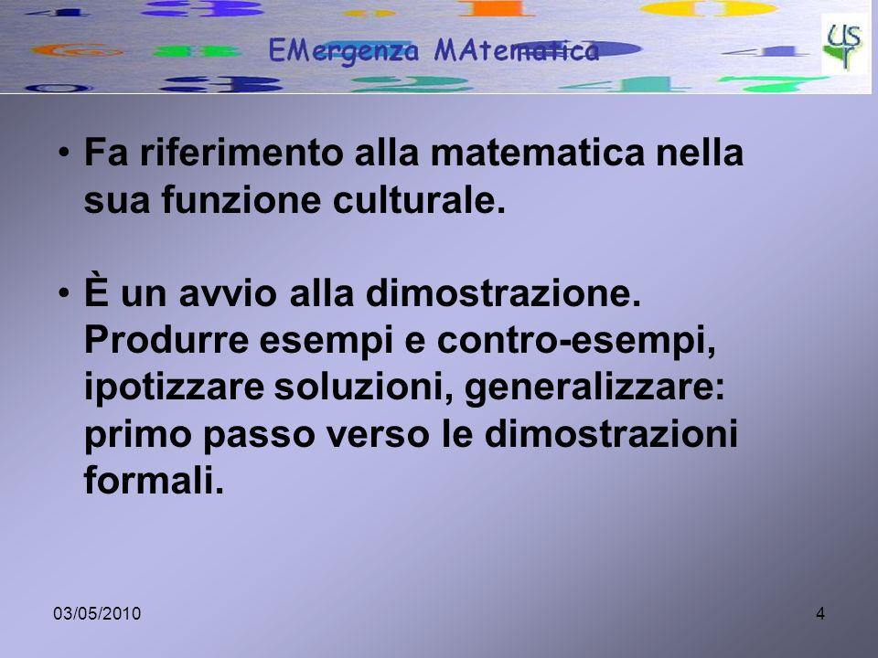 03/05/20104 Fa riferimento alla matematica nella sua funzione culturale. È un avvio alla dimostrazione. Produrre esempi e contro-esempi, ipotizzare so