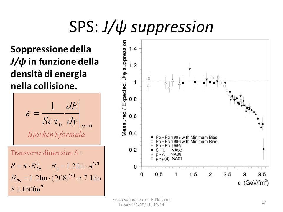 SPS: J/ψ suppression Soppressione della J/ψ in funzione della densità di energia nella collisione. 17 Fisica subnucleare - F. Noferini Lunedì 23/05/11