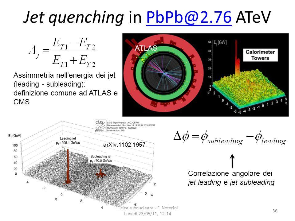 Jet quenching in PbPb@2.76 ATeVPbPb@2.76 36 ATLAS arXiv:1102.1957 Assimmetria nellenergia dei jet (leading - subleading): definizione comune ad ATLAS