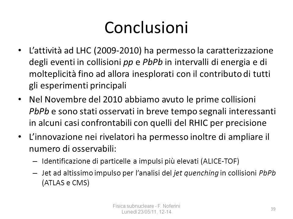 Conclusioni Fisica subnucleare - F. Noferini Lunedì 23/05/11, 12-14 39 Lattività ad LHC (2009-2010) ha permesso la caratterizzazione degli eventi in c