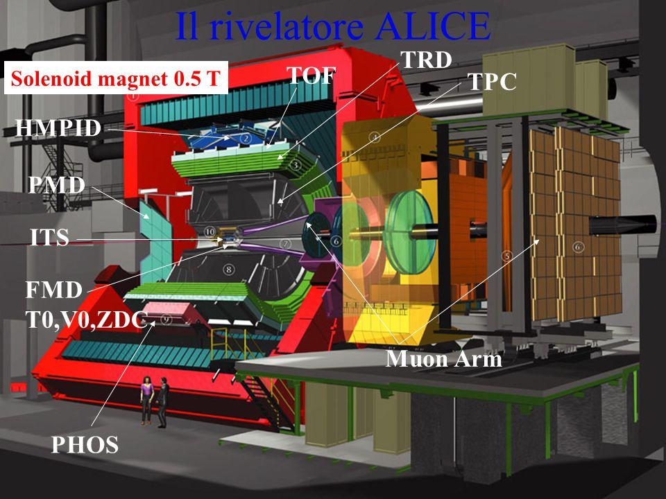 5 Il rivelatore ALICE Solenoid magnet 0.5 T PHOS ITS PMD HMPID TOF TRD Muon Arm TPC FMD T0,V0,ZDC