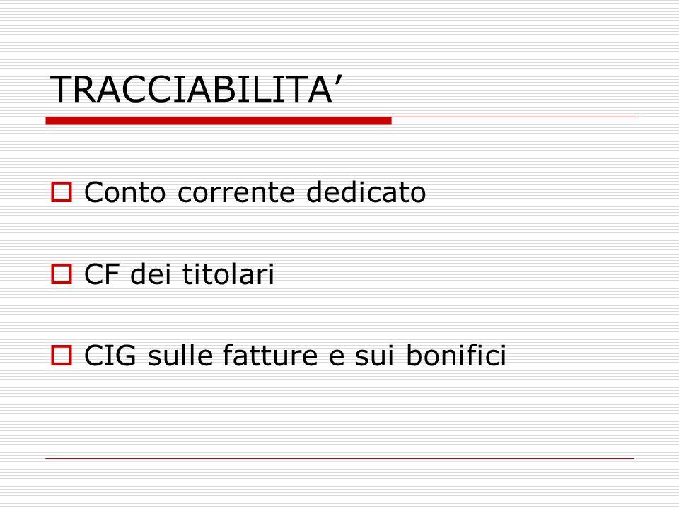 TRACCIABILITA Conto corrente dedicato CF dei titolari CIG sulle fatture e sui bonifici