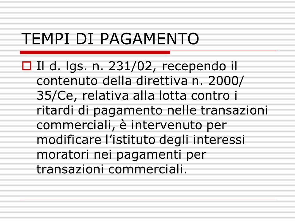 TEMPI DI PAGAMENTO Il d. lgs. n. 231/02, recependo il contenuto della direttiva n.