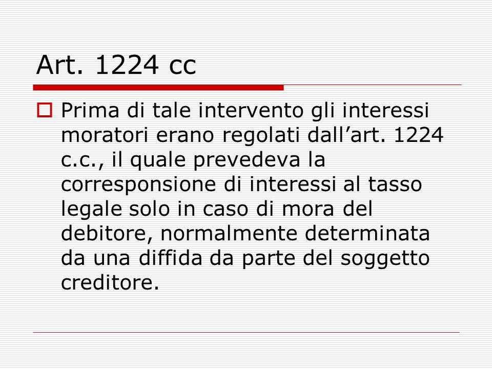 Art. 1224 cc Prima di tale intervento gli interessi moratori erano regolati dallart.