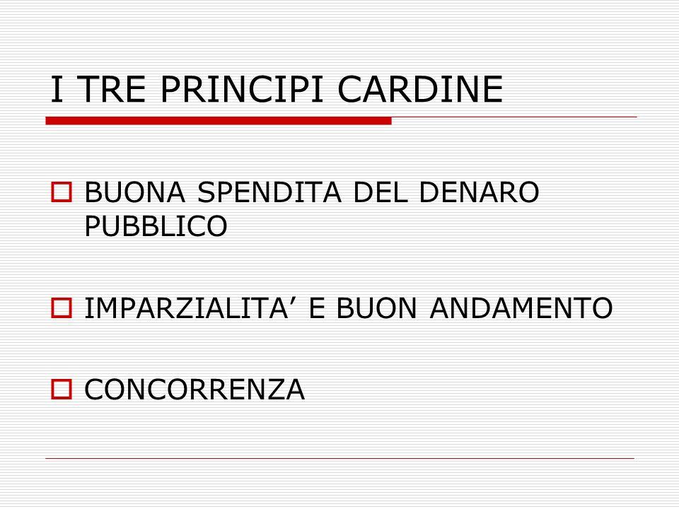 I TRE PRINCIPI CARDINE BUONA SPENDITA DEL DENARO PUBBLICO IMPARZIALITA E BUON ANDAMENTO CONCORRENZA