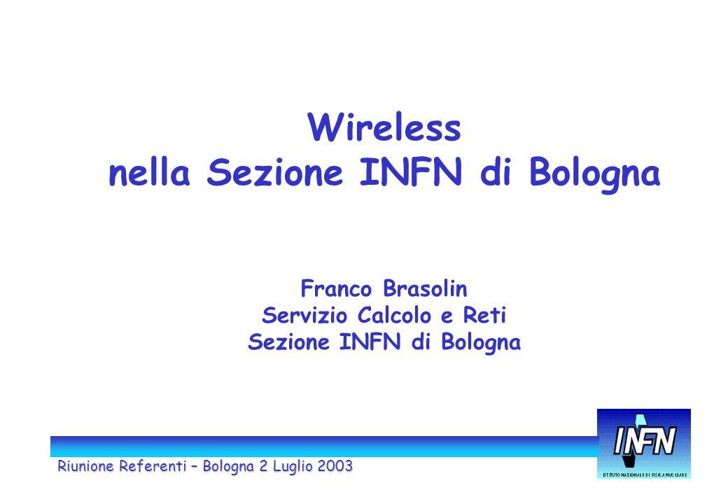 Riunione Referenti – Bologna 2 Luglio 2003 Wireless nella Sezione INFN di Bologna Franco Brasolin Servizio Calcolo e Reti Sezione INFN di Bologna