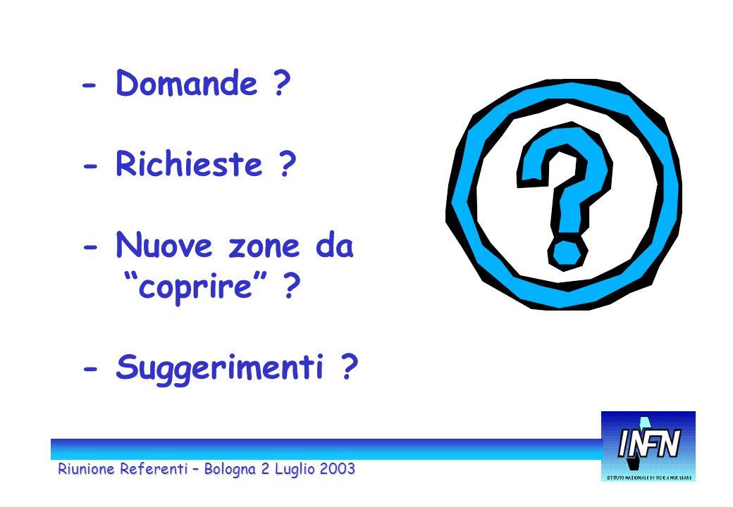 Riunione Referenti – Bologna 2 Luglio 2003 - Domande ? - Richieste ? - Nuove zone da coprire ? - Suggerimenti ?