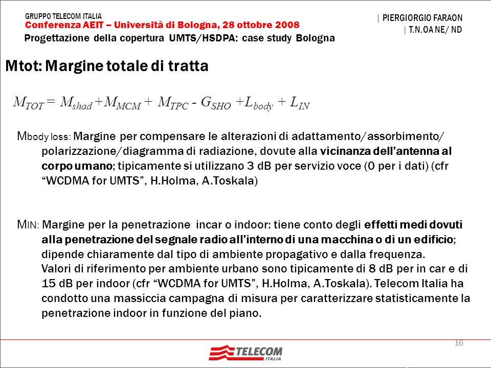 16 Progettazione della copertura UMTS/HSDPA: case study Bologna | PIERGIORGIO FARAON | T.N.OA NE/ ND Conferenza AEIT – Università di Bologna, 28 ottob