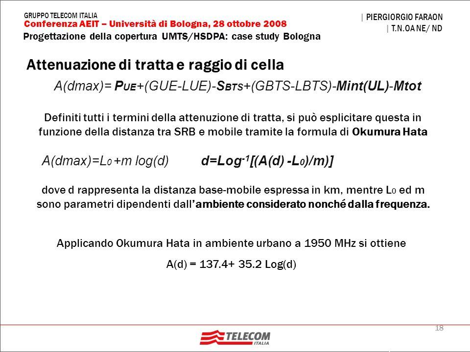 18 Progettazione della copertura UMTS/HSDPA: case study Bologna | PIERGIORGIO FARAON | T.N.OA NE/ ND Conferenza AEIT – Università di Bologna, 28 ottob