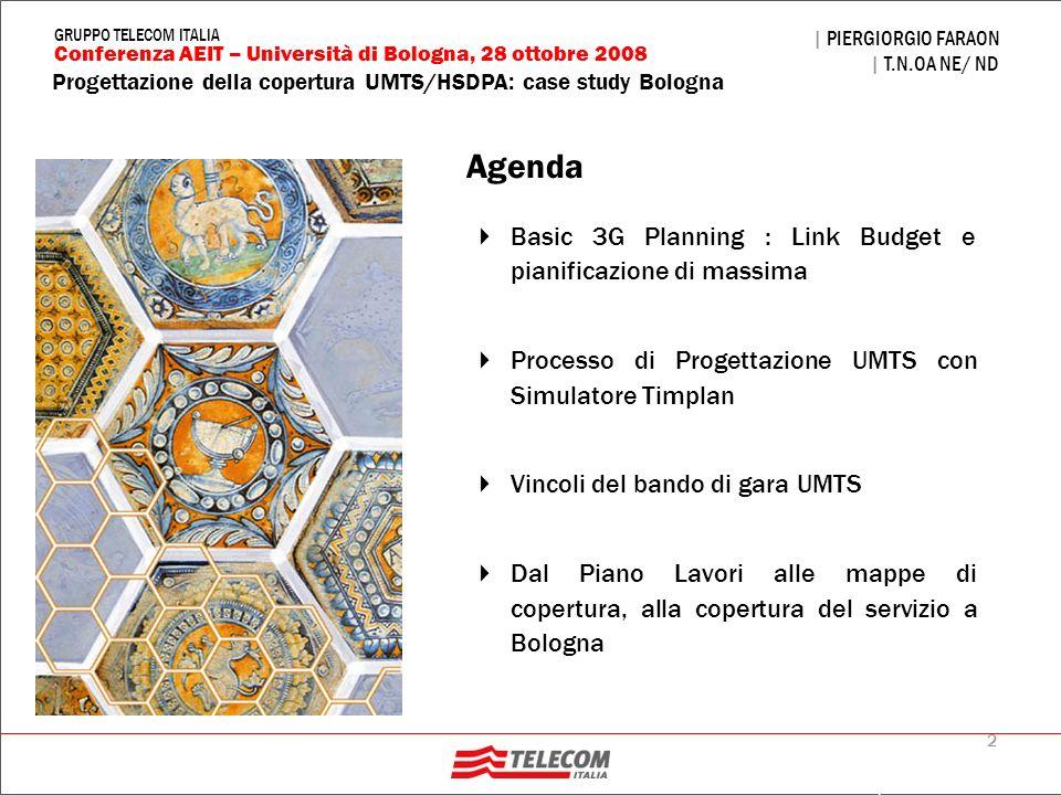 2 | PIERGIORGIO FARAON | T.N.OA NE/ ND Conferenza AEIT – Università di Bologna, 28 ottobre 2008 GRUPPO TELECOM ITALIA Progettazione della copertura 3G