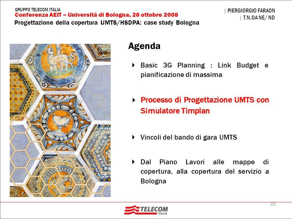 22 Progettazione della copertura UMTS/HSDPA: case study Bologna | PIERGIORGIO FARAON | T.N.OA NE/ ND Conferenza AEIT – Università di Bologna, 28 ottob