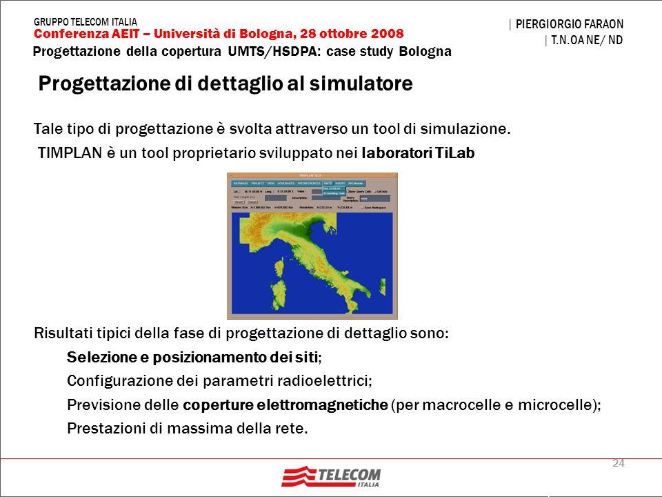 24 Progettazione della copertura UMTS/HSDPA: case study Bologna | PIERGIORGIO FARAON | T.N.OA NE/ ND Conferenza AEIT – Università di Bologna, 28 ottob
