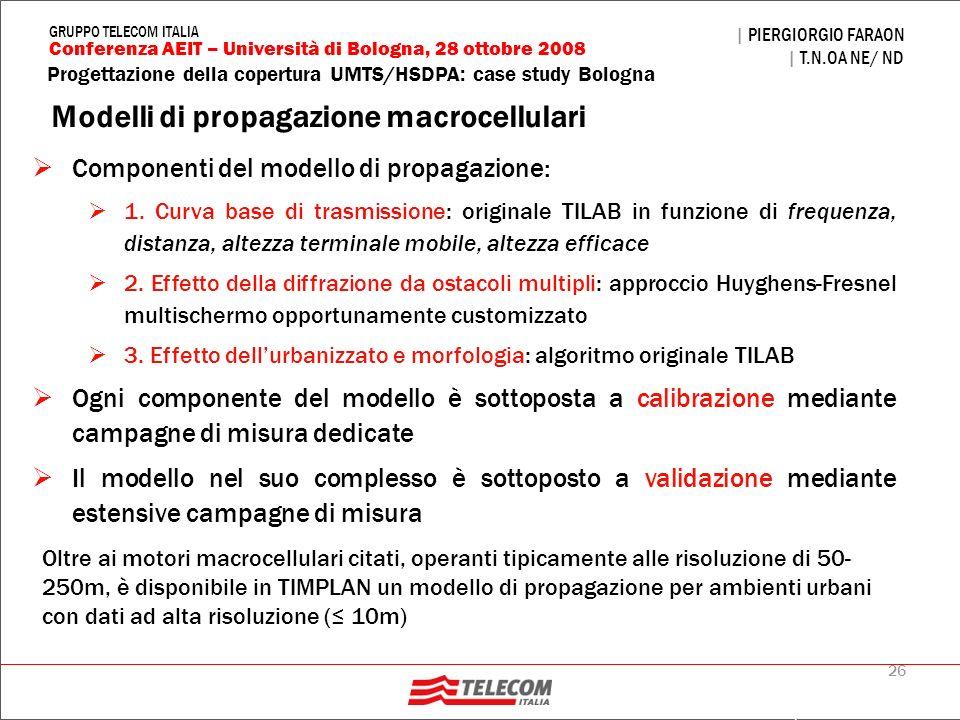 26 Progettazione della copertura UMTS/HSDPA: case study Bologna | PIERGIORGIO FARAON | T.N.OA NE/ ND Conferenza AEIT – Università di Bologna, 28 ottob