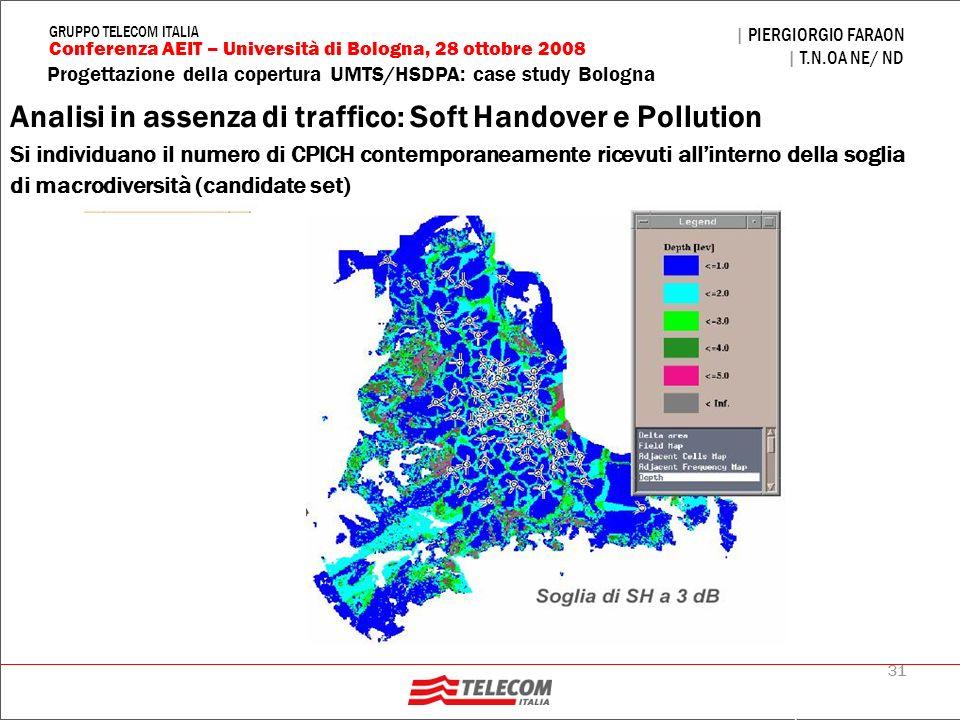 31 Progettazione della copertura UMTS/HSDPA: case study Bologna | PIERGIORGIO FARAON | T.N.OA NE/ ND Conferenza AEIT – Università di Bologna, 28 ottob