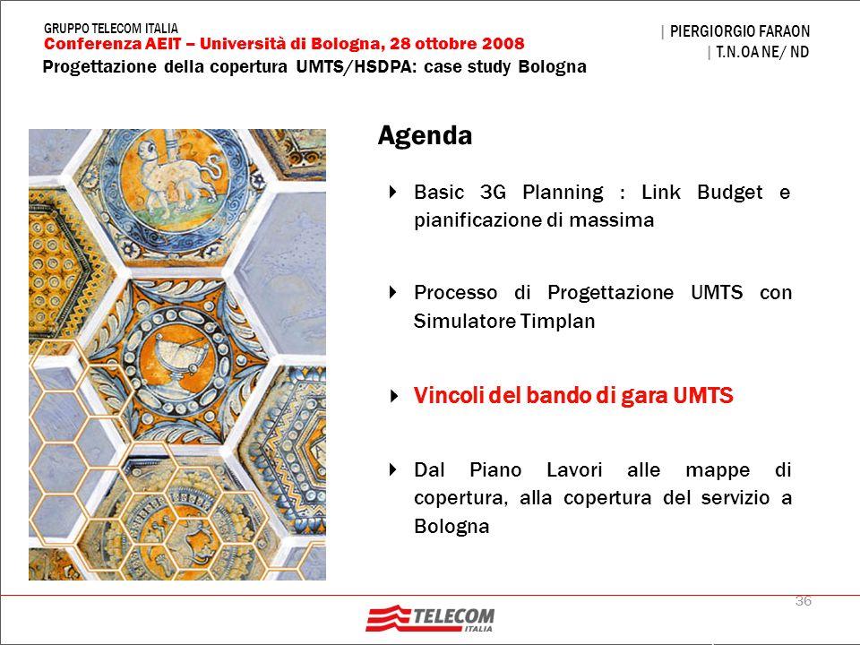 36 Progettazione della copertura UMTS/HSDPA: case study Bologna | PIERGIORGIO FARAON | T.N.OA NE/ ND Conferenza AEIT – Università di Bologna, 28 ottob