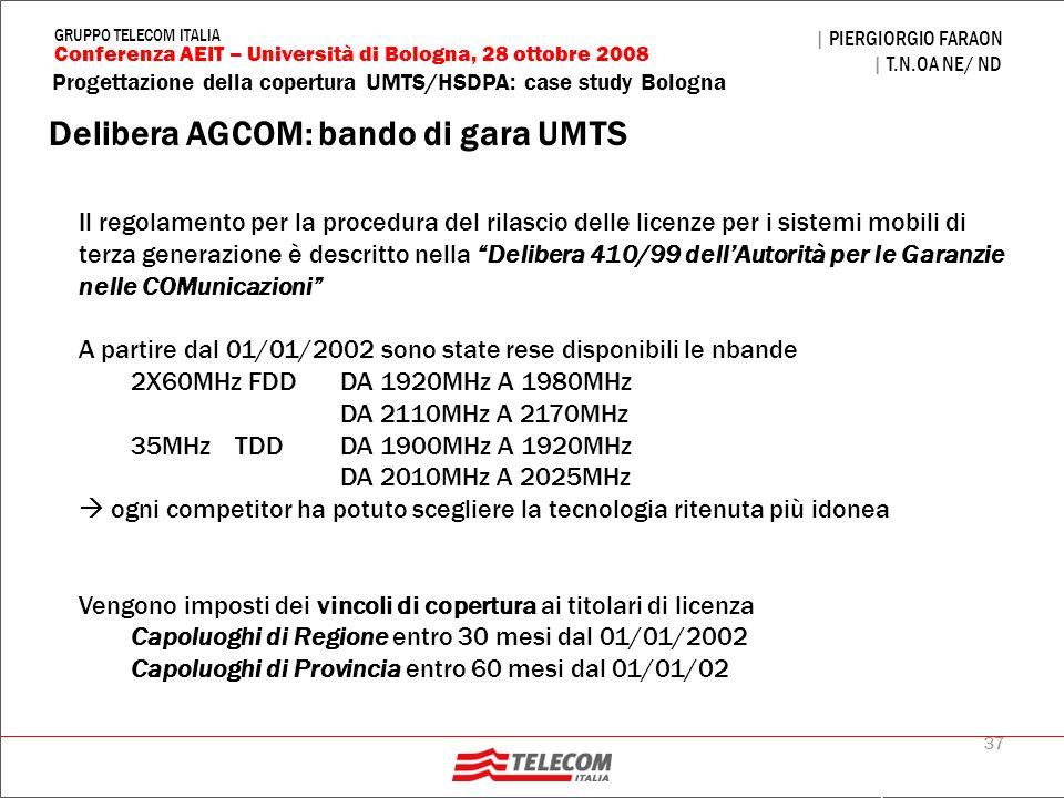 37 Progettazione della copertura UMTS/HSDPA: case study Bologna | PIERGIORGIO FARAON | T.N.OA NE/ ND Conferenza AEIT – Università di Bologna, 28 ottob