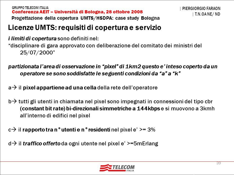 39 Progettazione della copertura UMTS/HSDPA: case study Bologna | PIERGIORGIO FARAON | T.N.OA NE/ ND Conferenza AEIT – Università di Bologna, 28 ottob