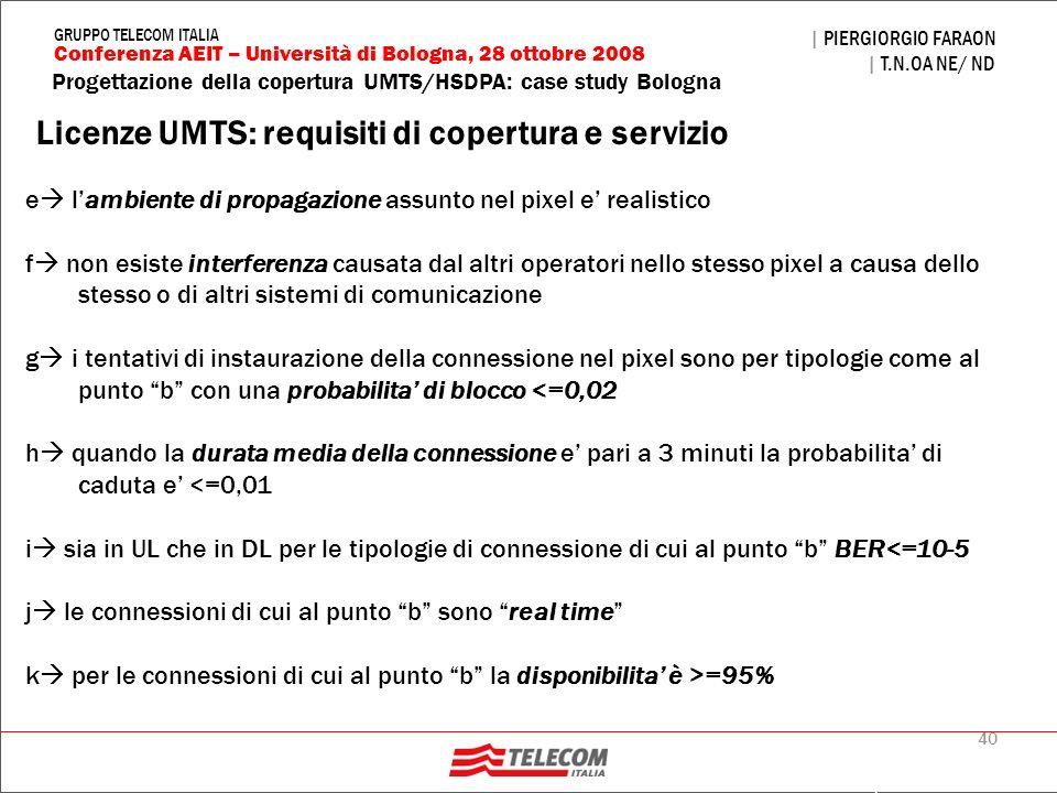 40 Progettazione della copertura UMTS/HSDPA: case study Bologna | PIERGIORGIO FARAON | T.N.OA NE/ ND Conferenza AEIT – Università di Bologna, 28 ottob
