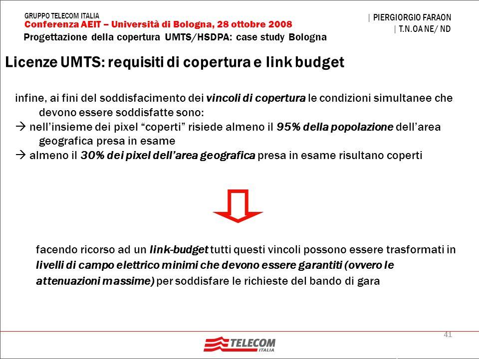 41 Progettazione della copertura UMTS/HSDPA: case study Bologna | PIERGIORGIO FARAON | T.N.OA NE/ ND Conferenza AEIT – Università di Bologna, 28 ottob