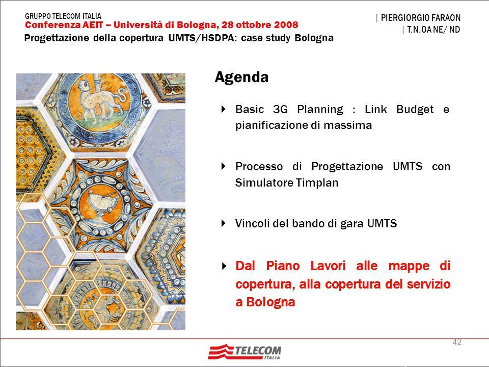 42 Progettazione della copertura UMTS/HSDPA: case study Bologna | PIERGIORGIO FARAON | T.N.OA NE/ ND Conferenza AEIT – Università di Bologna, 28 ottob