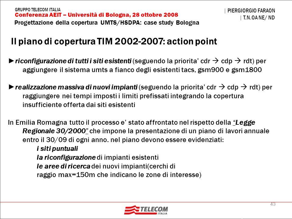 43 Progettazione della copertura UMTS/HSDPA: case study Bologna | PIERGIORGIO FARAON | T.N.OA NE/ ND Conferenza AEIT – Università di Bologna, 28 ottob