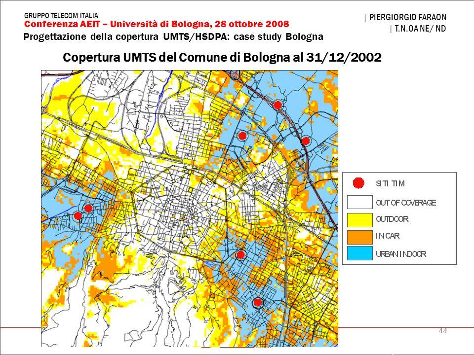 44 Progettazione della copertura UMTS/HSDPA: case study Bologna | PIERGIORGIO FARAON | T.N.OA NE/ ND Conferenza AEIT – Università di Bologna, 28 ottob