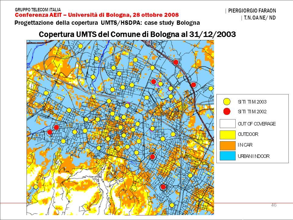 46 Progettazione della copertura UMTS/HSDPA: case study Bologna | PIERGIORGIO FARAON | T.N.OA NE/ ND Conferenza AEIT – Università di Bologna, 28 ottob