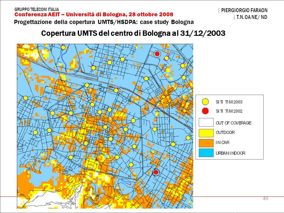 49 Progettazione della copertura UMTS/HSDPA: case study Bologna | PIERGIORGIO FARAON | T.N.OA NE/ ND Conferenza AEIT – Università di Bologna, 28 ottob