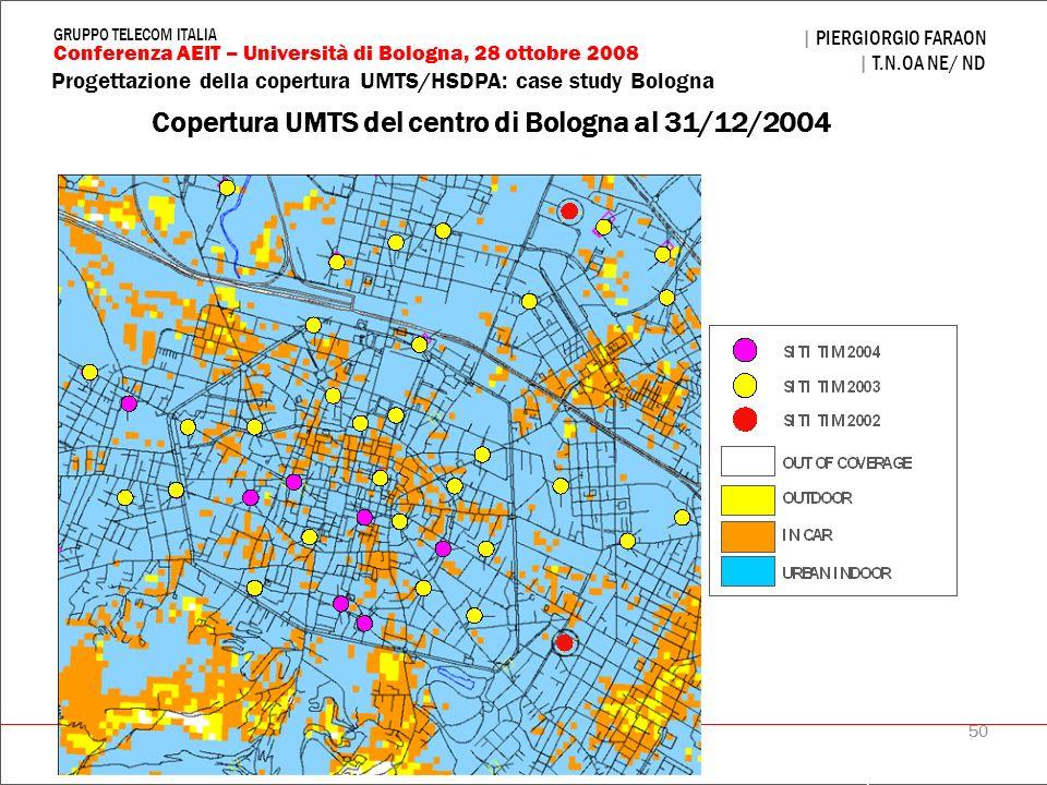 50 Progettazione della copertura UMTS/HSDPA: case study Bologna | PIERGIORGIO FARAON | T.N.OA NE/ ND Conferenza AEIT – Università di Bologna, 28 ottob