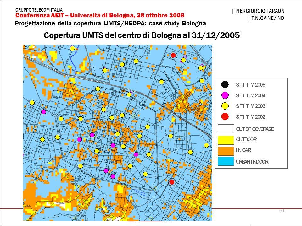 51 Progettazione della copertura UMTS/HSDPA: case study Bologna | PIERGIORGIO FARAON | T.N.OA NE/ ND Conferenza AEIT – Università di Bologna, 28 ottob