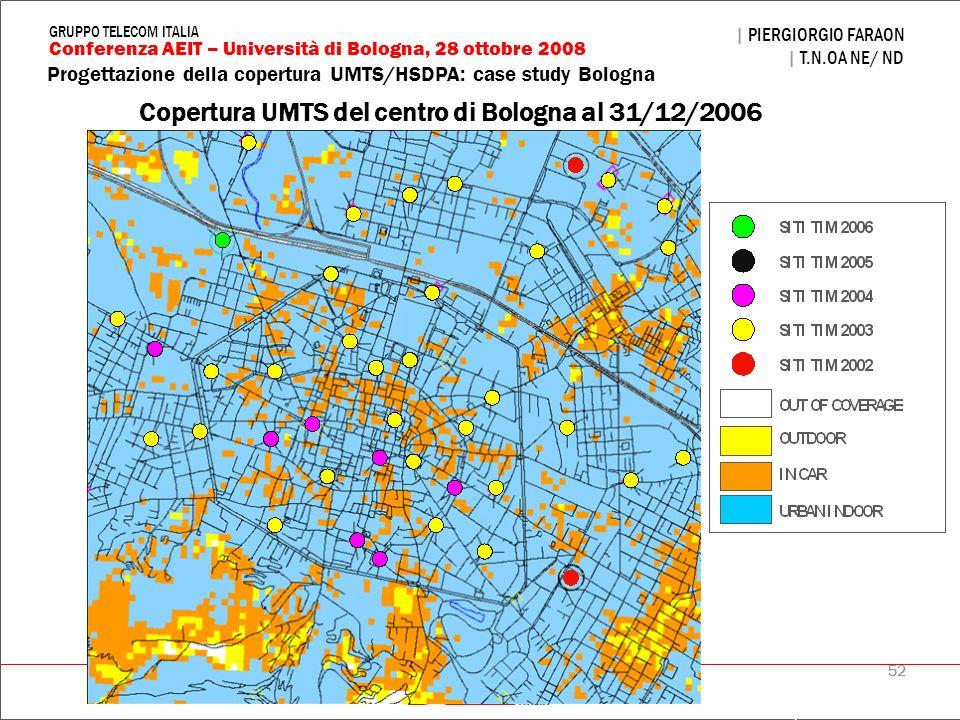 52 Progettazione della copertura UMTS/HSDPA: case study Bologna | PIERGIORGIO FARAON | T.N.OA NE/ ND Conferenza AEIT – Università di Bologna, 28 ottob