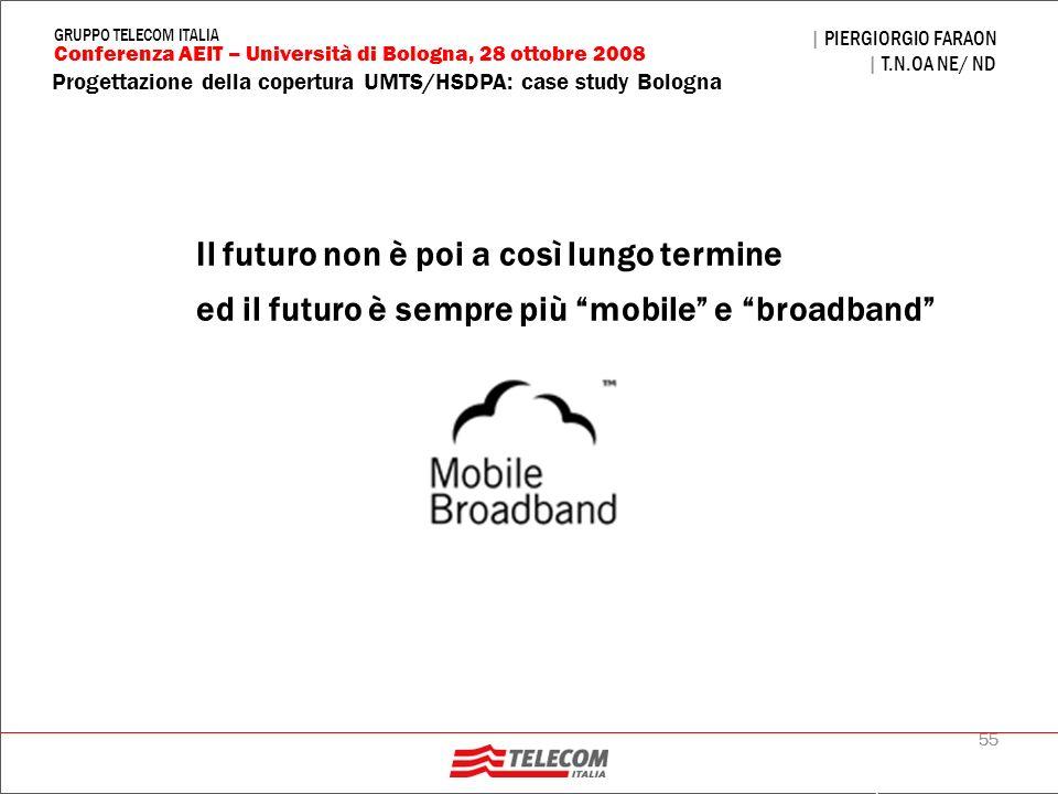55 Progettazione della copertura UMTS/HSDPA: case study Bologna | PIERGIORGIO FARAON | T.N.OA NE/ ND Conferenza AEIT – Università di Bologna, 28 ottob