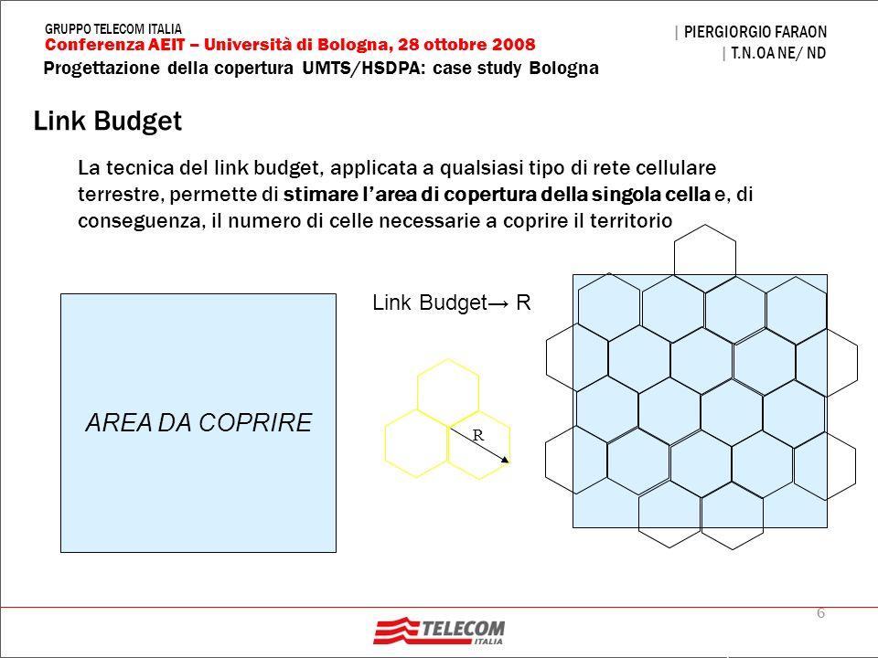 6 Progettazione della copertura UMTS/HSDPA: case study Bologna | PIERGIORGIO FARAON | T.N.OA NE/ ND Conferenza AEIT – Università di Bologna, 28 ottobr