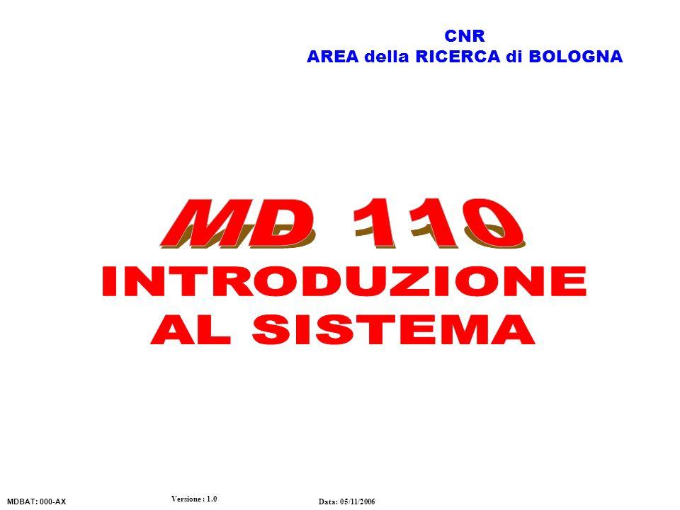 Versione : 1.0 Data: 05/11/2006 MDBAT: 000-AX CNR AREA della RICERCA di BOLOGNA