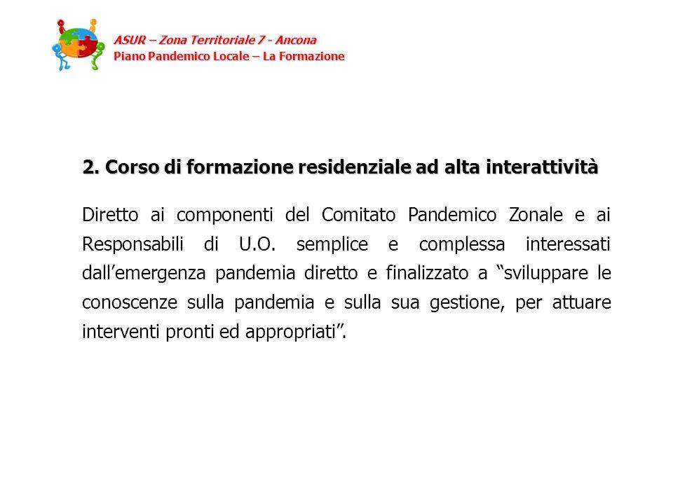 2. Corso di formazione residenziale ad alta interattività Diretto ai componenti del Comitato Pandemico Zonale e ai Responsabili di U.O. semplice e com
